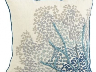 Embroidered Sea Fan Pillow