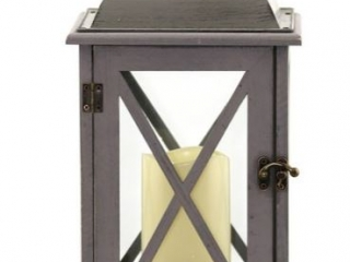 Wood Lantern and Flameless Candle
