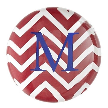 Chevron Patterned Domed Glass Paperweight