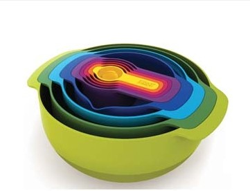 Nesting Prep Bowls, Measuring Cups, and Strainer