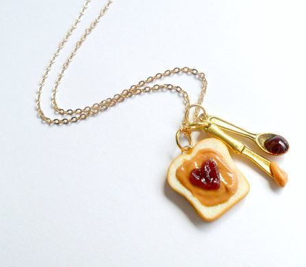 Peanut Butter and Jelly Heart Necklace