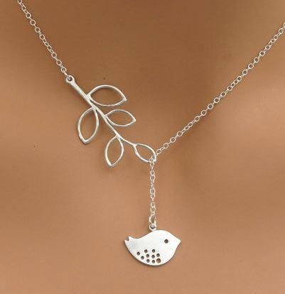Handmade Bird and Branch Lariat Necklace