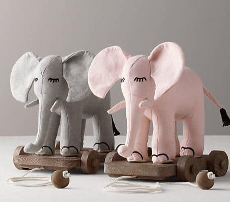 Elephant Chambray Pull Toy