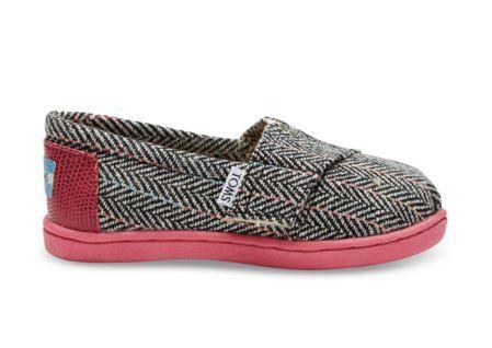 TOMS Pink Wool Herringbone Shoes