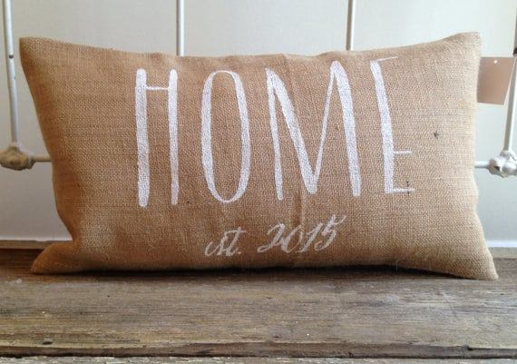 Personalized Burlap Throw Pillow by Two Peaches Design